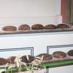 Die fertigen Roggenbrote in der Kirche zu Erntedank
